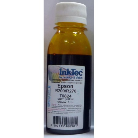 Чернила Epson R200/R270, E0010 (InkTec) T0824, Y, 0,1л