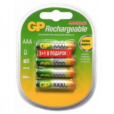 Аккумулятор GP 100AAAHC3/1 AAA NiMH 1000mAh (промо:3+1) (4шт)