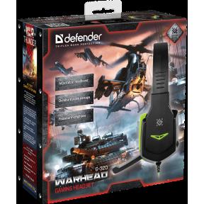 Defender Игровая гарнитура Warhead G-320 черный+зеленый, кабель 1.8 м / 64032 /