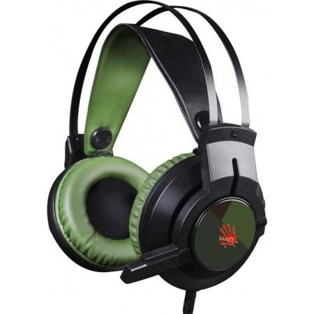 Наушники с микрофоном A4Tech Bloody J450 черный/зеленый 1.8м мониторные оголовье (J450)