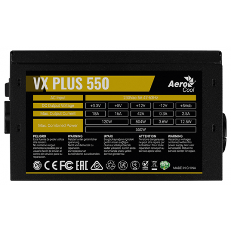 Блок питания 550W AeroCool VX-550 PLUS BOX