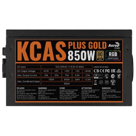 Блок питания 850 Вт AeroCool KCAS PLUS GOLD 850W ARGB 80+ gold 24+2x(4+4) pin APFC 120mm fan color 2674