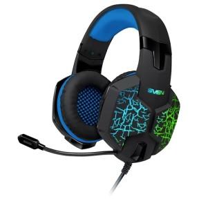 Игровые стереонаушники с микрофоном SVEN AP-U980MV, черный-синий (USB, LED, 7.1) / SV-015633 /