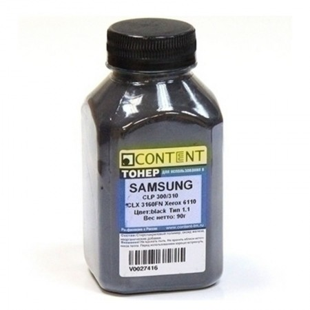 Тонер Content для Samsung CLP-300, Тип 1.1, Bk, 90 г, банка
